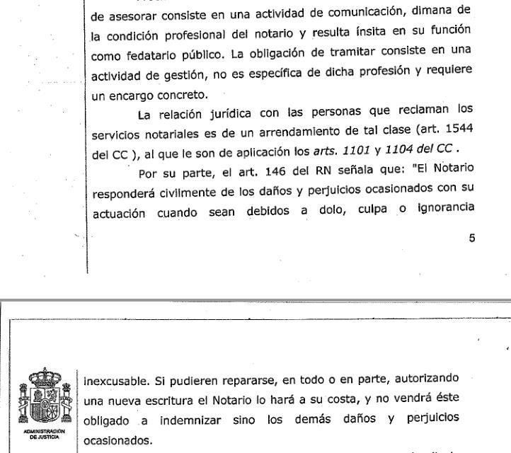 Condenan a una notaria por no informar en una compraventa de las cargas fiscales que pesaban sobre unas fincas