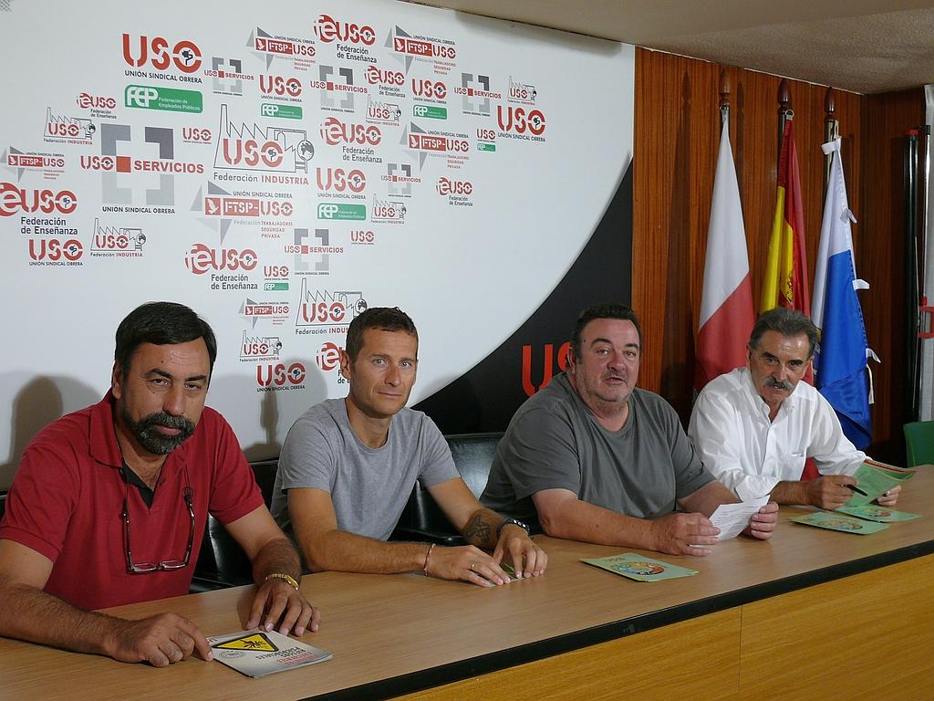 """En la imagen Miguel Ángel Colsa, Jesús Hernández, José Lanza y José Vía - USO denuncia a Ambuibérica por presunto """"fraude masivo"""" en la contratación"""