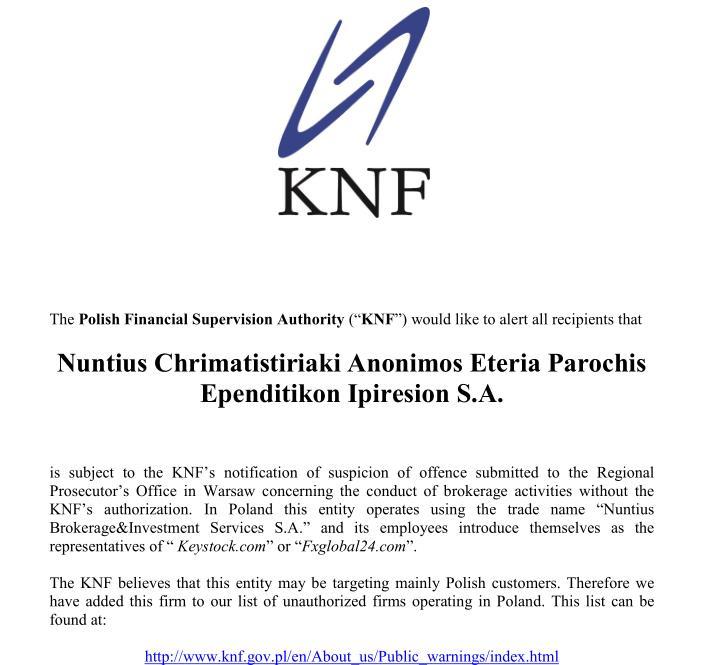 La autoridad financiera polaca emitió una alerta sobre Nuntius, bróker que opera como Stocks Forex en España