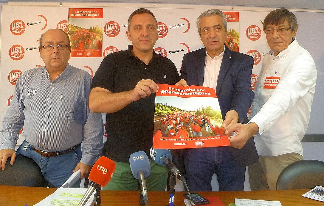 Jubilados de Cantabria inician el sábado en Santoña una de las cinco marchas de UGT y CCOO por las pensiones dignas