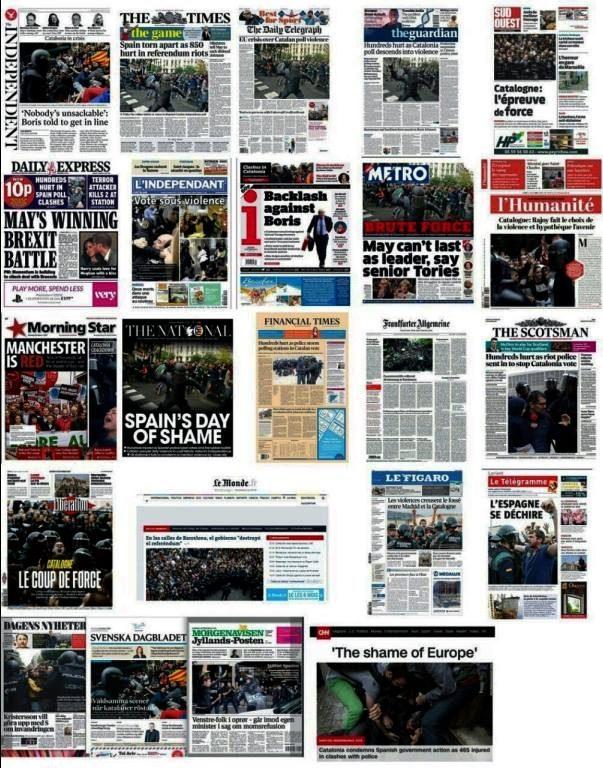 La prensa internacional se hace eco de la violencia en Cataluña