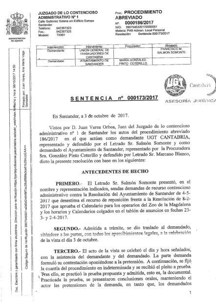 Una sentencia judicial condena al Ayuntamiento de Santander por no tener negociación 'efectiva y real' con los sindicatos