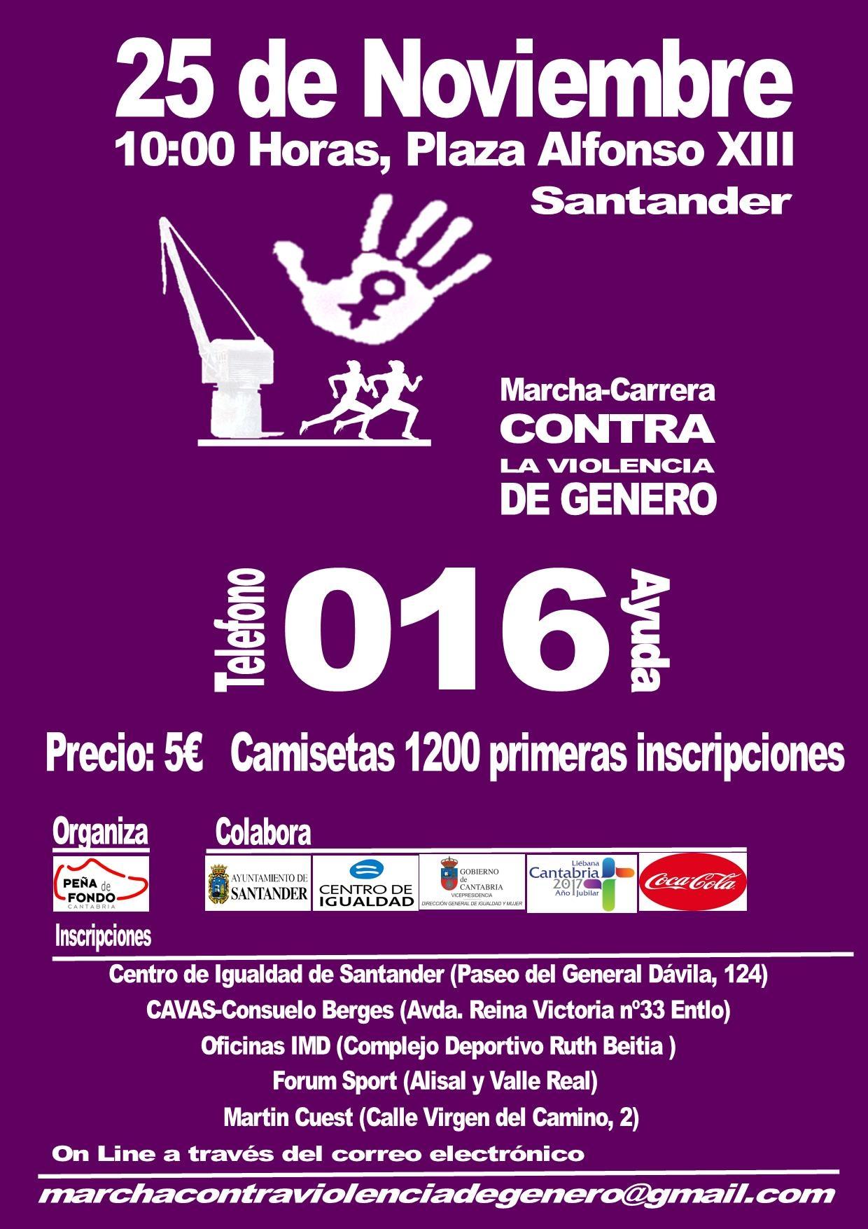 Más de 500 personas se han inscrito en la I Marcha-Carrera contra la Violencia de Género de Santander