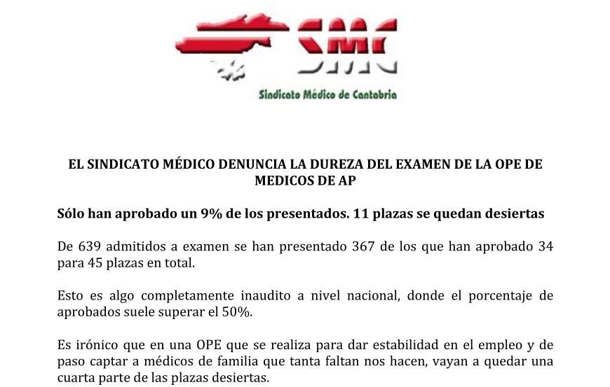 """El Sindicato Médico denuncia la """"dureza"""" del examen para nuevos médicos"""