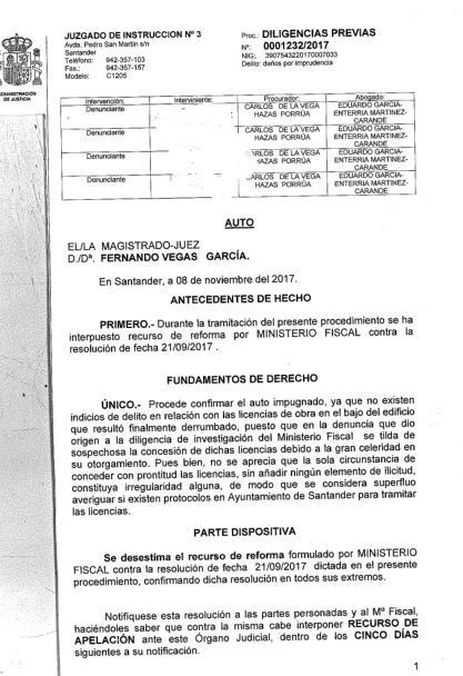 El juez desestima el recurso del fiscal e insiste en el archivo de la causa penal por el derrumbe de la calle del Sol
