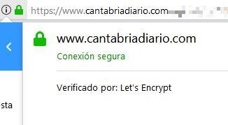 CANTABRIA DIARIO y ESTORRELAVEGA ofrecen conexiones seguras mediante SSL