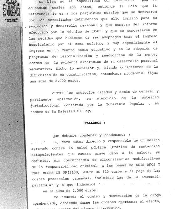Seis años y tres meses de prisión por facilitar de forma reiterada hachís y cocaína a una niña de 14 años