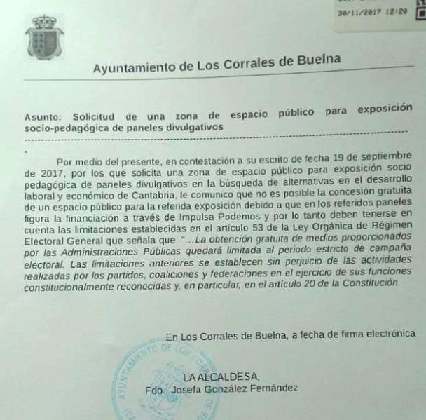 Podemos acusa a la alcaldesa de Los Corrales de Buelna de vulnerar la libertad de expresión