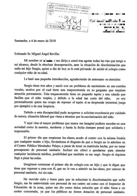 Fragmento de la carta enviada por la madre a Miguel Ángel Revilla - IU insta a Revilla a desbloquear la contratación de personal sanitario en colegios para evitar casos como el de Sergio