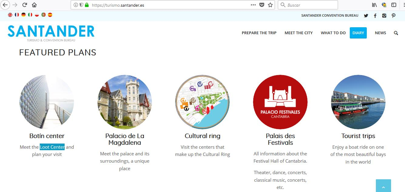 """Centro Botín se traduce como """"Loot Center"""" - La versión en inglés de la web de Turismo de Santander, a golpe de traductor automático"""