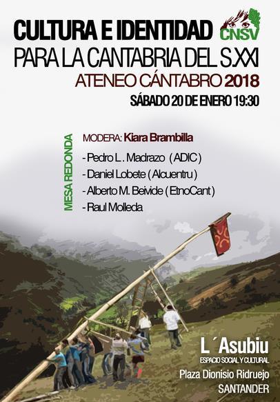 El Ateneo Cántabro de CNSV inicia su actividad este sábado con la mesa redonda 'Cultura e Identidad para la Cantabria del siglo XXI'