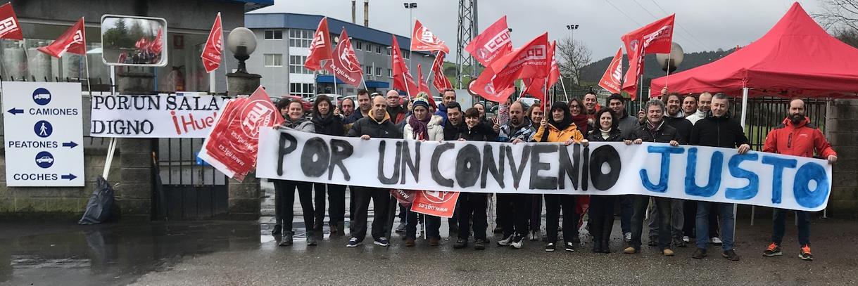El primer día de huelga paraliza la actividad productiva de la fábrica de Lácteos de Santander