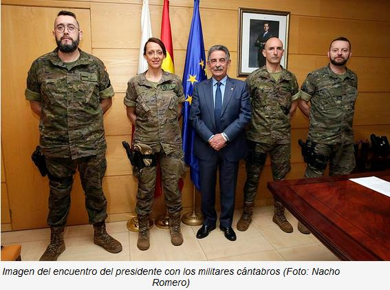 Revilla apoya a un grupo de militares cántabros en su Camino Lebaniego solidario con la Asociación Sonrisas