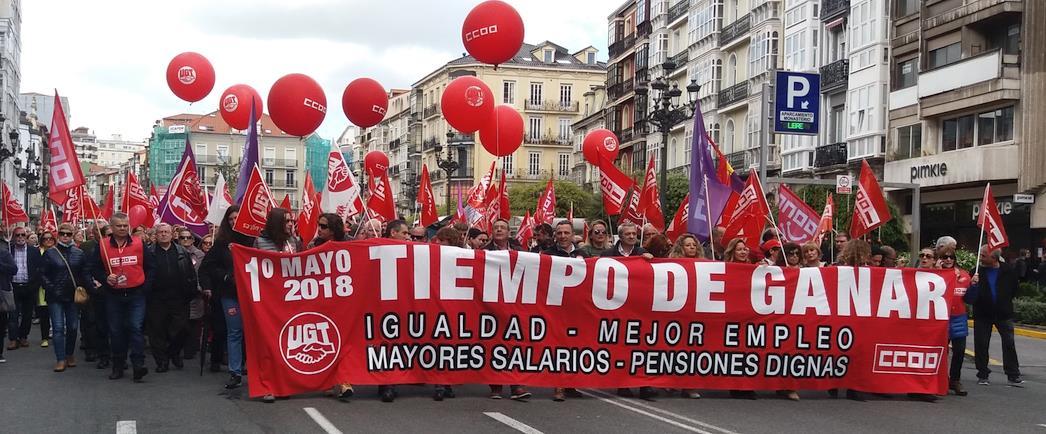 12.000 personas secundan la manifestación del 1 de Mayo de UGT y de CCOO en Santander