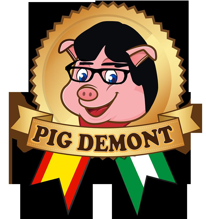 """El logotipo de la marca """"Pig Demont"""" en el que se ve un cerdo sonriente con gafas y pelo negro"""