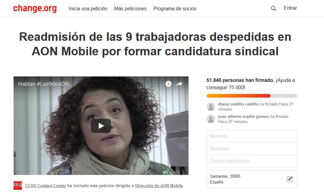Más de 51.000 firmas para reclamar la readmisión de «Las 9 de AON»