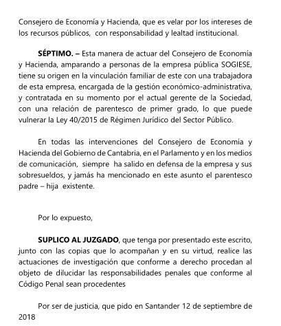 OlaCantabria denuncia al consejero Juan José Sota por el caso Sogiese