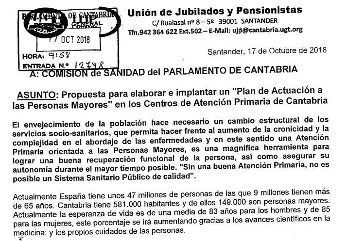 Los jubilados de UGT piden al Parlamento de Cantabria un plan de actuación en atención primaria para personas mayores