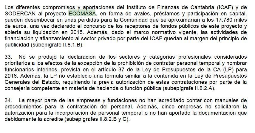 El informe del Tribunal de Cuentas señala que Cantabria podría registrar pérdidas de 18 millones de euros por ECOMASA