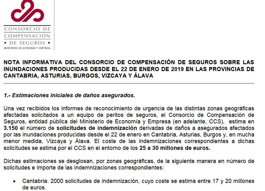 El Consorcio de Compensación de Seguros estima entre 17 y 20 millones de euros las indemnizaciones por las inundaciones en Cantabria