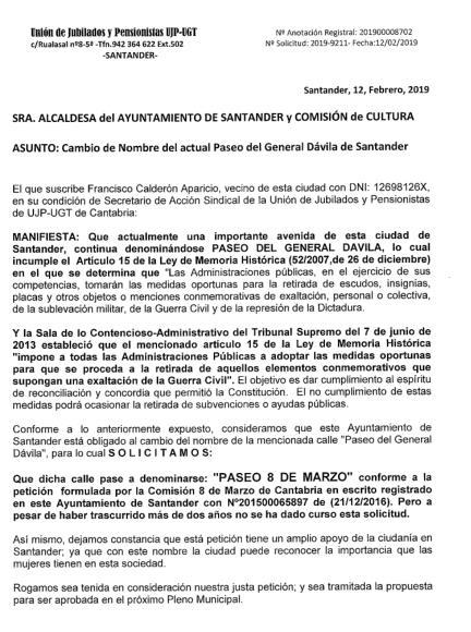 """UGT pide al Ayuntamiento de Santander que el """"Paseo de General Dávila"""" pase a denominarse """"Paseo 8 de Marzo"""""""