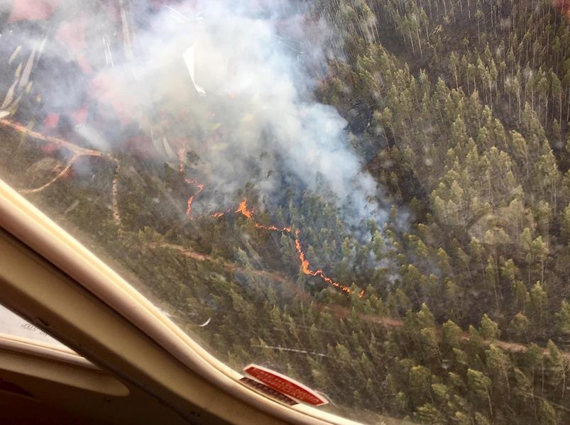 La foto corresponde al incendio de Los Llanos de Penagos, desde el Helicóptero del 112.