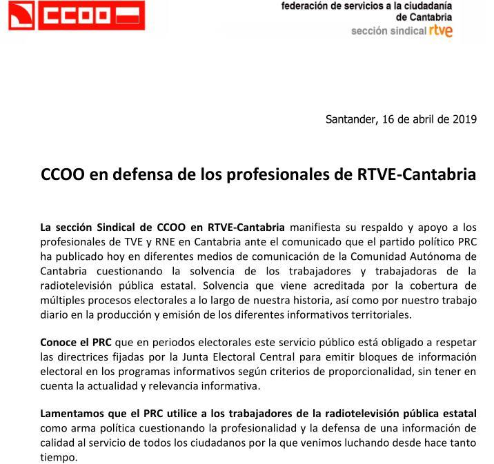 Periodistas y sindicatos defienden a RTVE Cantabria tras los ataques del PRC