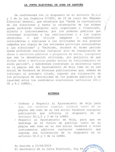 La Junta Electoral de Zona obliga al alcalde de Noja a retirar un comunicado 'electoralista'