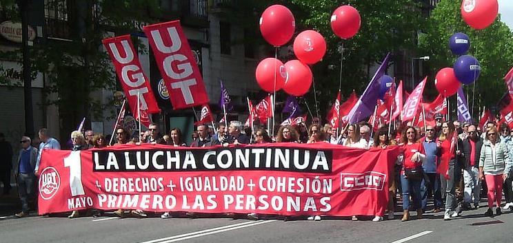 En la imagen, la manifestación del 1 de mayo en Santander, organizada por los sindicatos UGT y CC OO