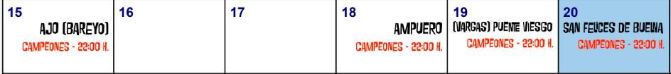 Calendario de Cine al Aire Libre del 15 al 20 de julio