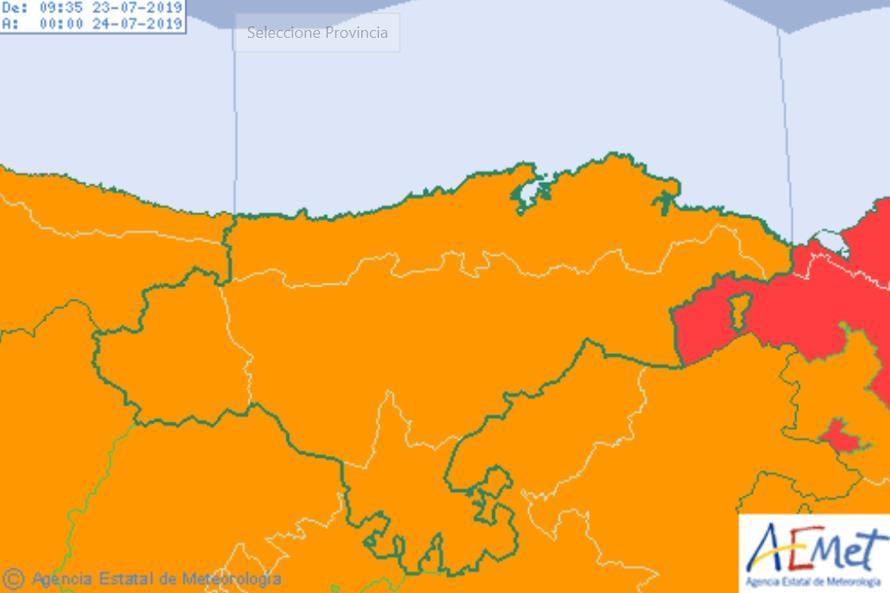 Cantabria estará desde las 14:00 hasta las 22:00 horas en aviso naranja por tormentas
