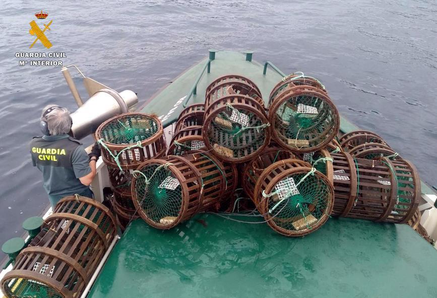 Interceptado un furtivo con más de 60 kilos de pulpos y 53 centollos y bogavantes