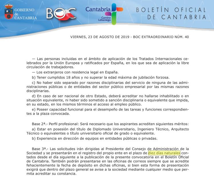En la imagen, el plazo de diez días naturales para presentar candidaturas para la SRECD, que incluyó dos fines de semana y un día festivo en Santander - El PP ve un 'engaño' en el proceso para elegir a los directores de las empresas públicas