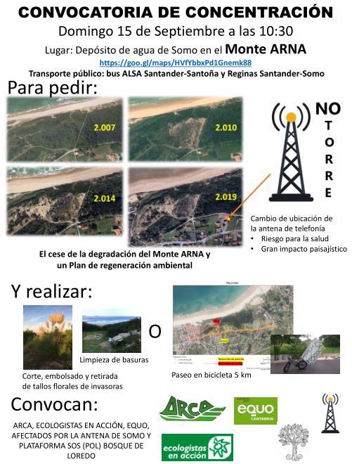 Convocada una concentración para evitar el 'continuo deterioro' del Monte Arna de Somo
