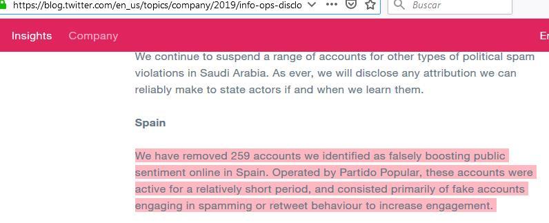 Twitter elimina más de 250 cuentas falsas operadas por el Partido Popular