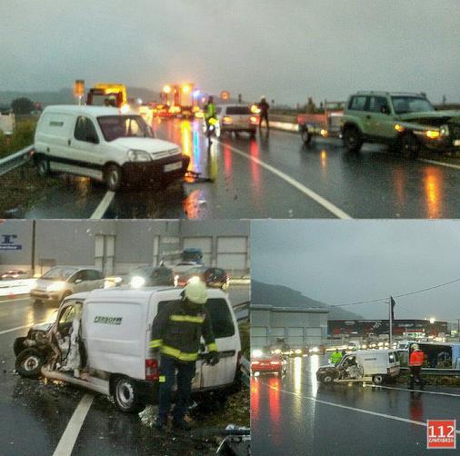 Un hombre herido leve en una colisión lateral de dos vehículos en la N-623 a la altura de Vargas