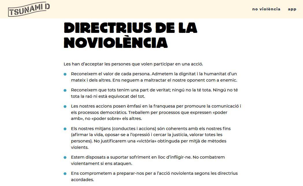 """Apartado sobre """"No violencia"""" en la web de Tsunami Democràtic"""