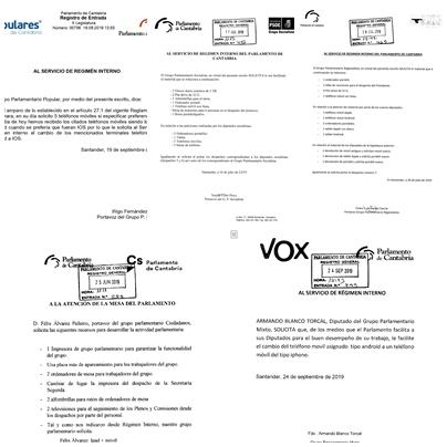 Desde teléfonos iPhone hasta banderas de España: salen a la luz más peticiones de todos los grupos del Parlamento de Cantabria