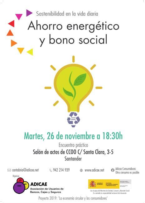 """ADICAE organiza el taller """"Ahorro energético y bono social"""""""