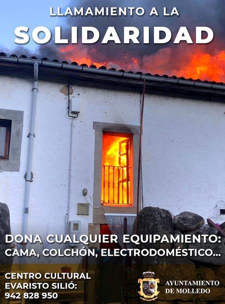 El Ayuntamiento de Molledo llama a la solidaridad para ayudar a la familia que lo perdió todo en el incendio de su casa