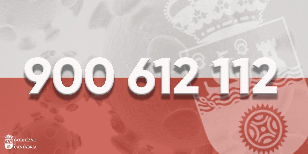 El gobierno de Cantabria ha dispuesto el teléfono 900 612 112 para el coronavirus