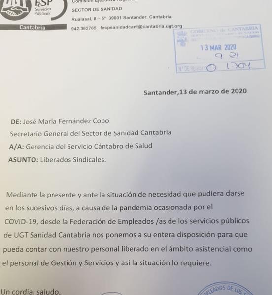 UGT ofrece a la Consejería de Sanidad sus liberados sindicales para reforzar las plantillas sanitarias por el coronavirus