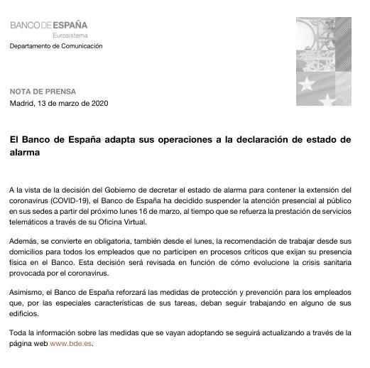 El Banco de España adapta sus operaciones a la declaración de estado de alarma