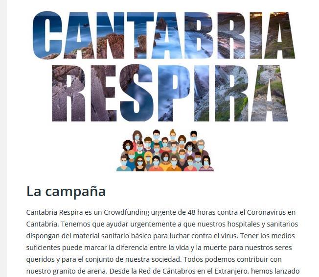 """La Red de Cántabros en el Extranjero lanza un """"crowdfunding"""" urgente contra el coronavirus en Cantabria"""