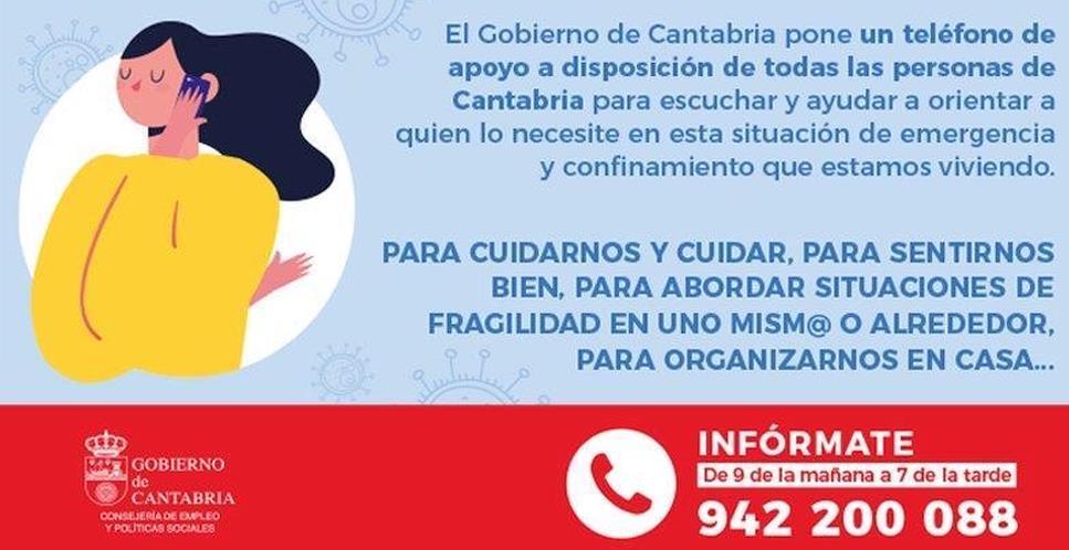 Políticas Sociales activa el teléfono 942 200 088 para apoyar a la ciudadanía
