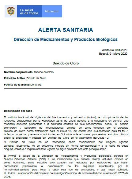 Colombia también alerta sobre el dióxido de cloro, falso remedio contra el coronavirus
