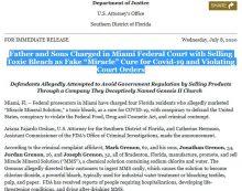 EE. UU. acusa de conspiración a vendedores del tóxico MMS como falsa cura de COVID-19