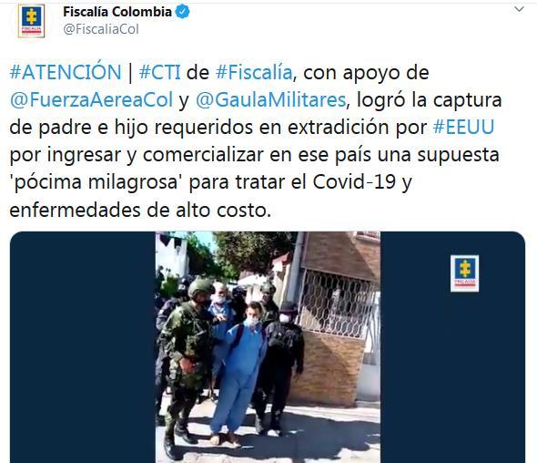 Detenidos en Colombia los líderes de la secta Génesis II, acusados de vender el falso medicamento MMS