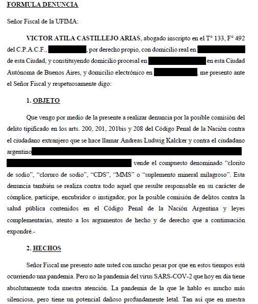 Fragmento de la denuncia contra Andreas Kalcker presentada por Víctor Castillejo ante la Fiscalía de Argentina