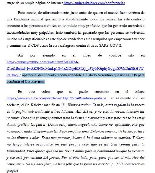 En la imagen la denuncia de un abogado argentino contra Andreas Kalcker, gurú del dióxido de cloro